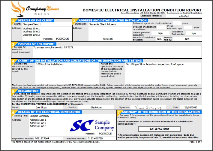 Electrical Inspection Report Sample Electrical Inspection Report