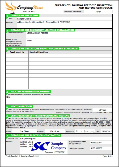 emergency lighting test certificate template tysoft easycert certificates